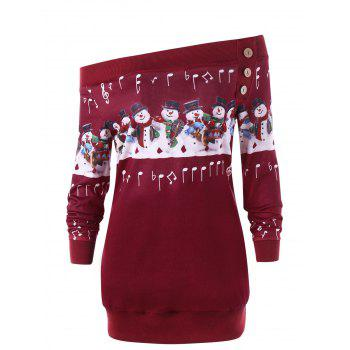 Plus Size Christmas Snowman Off The Shoulder Sweatshirt