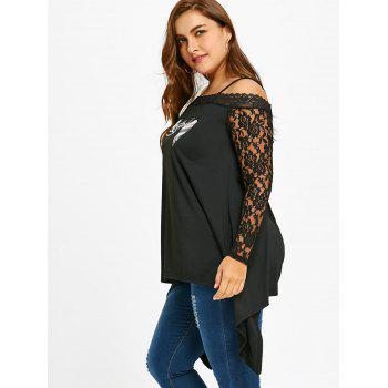 Plus Size Wings Print Lace Trim Tunic Top - BLACK XL