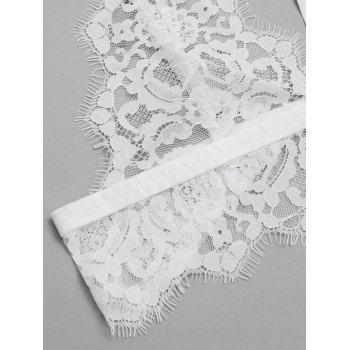 Scalloped  Sheer Lace Caged Bra Top - WHITE M