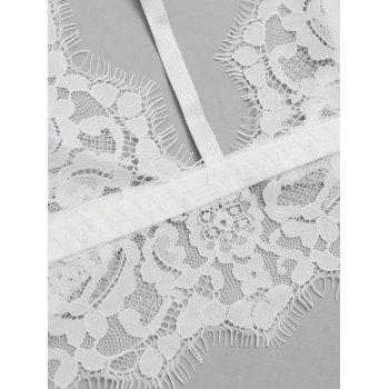 Scalloped  Sheer Lace Caged Bra Top - WHITE S