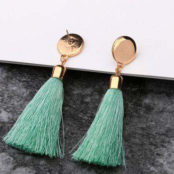 Metal Stud Tassel Drop Earrings - GREEN