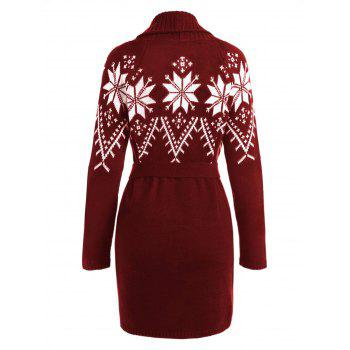 Shawl Collar Snowflake Jacquard Wrap Cardigan - WINE RED M