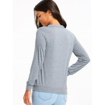 Cut Out Criss Cross Long Sleeve Top - GRAY XL