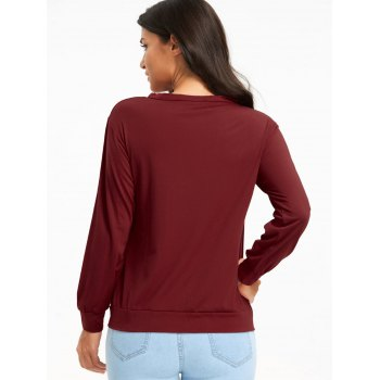 Cut Out Criss Cross Long Sleeve Top - WINE RED L