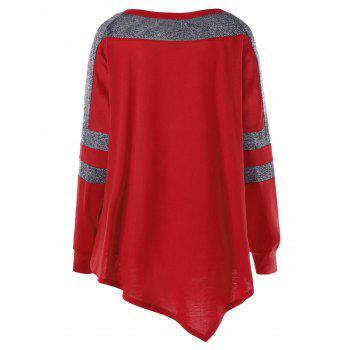 Plus Size Asymmetric Long Sleeve Pullover Sweatshirt - RED XL