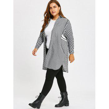 Plus Size Long Plaid Tunic Shirt - GRAY 4XL