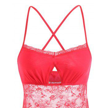 Lace Criss Cross Sheer Slip Teddy - RED RED