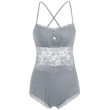 Lace Criss Cross Sheer Slip Teddy - GRAY GRAY