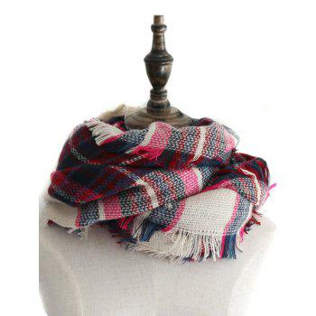 Outdoor Checked Pattern Faux Wool Fringed Shawl Scarf - ROSE MADDER