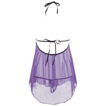 Mesh Sheer Open Back Split Babydoll - PURPLE PURPLE