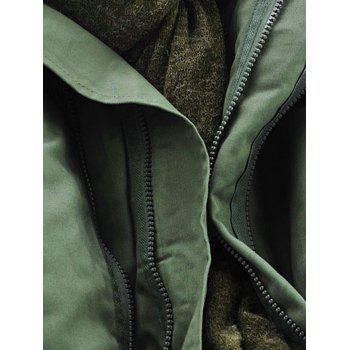 Hooded Padded Double Zip Up Parka Coat - ARMY GREEN 6XL