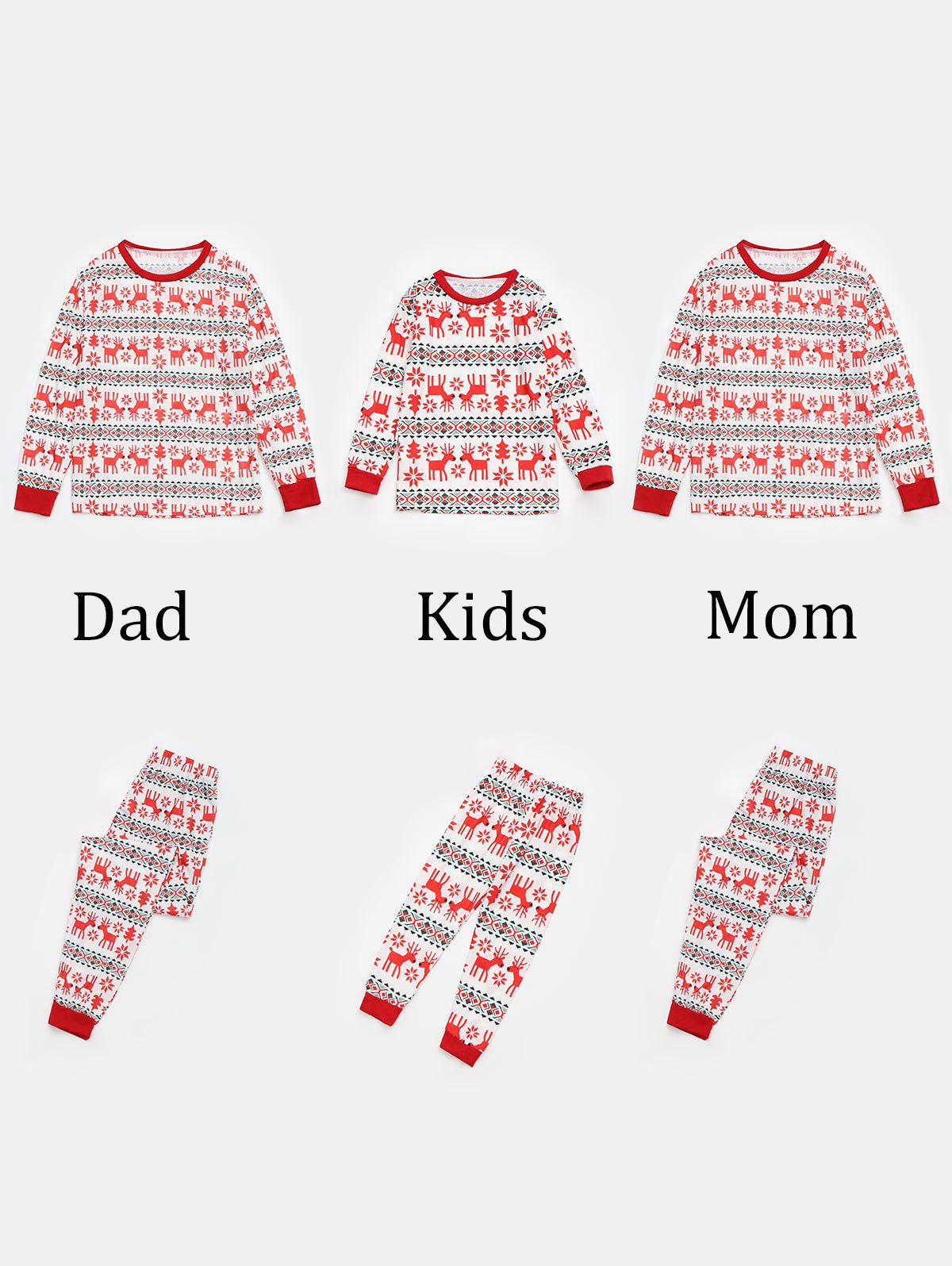 Reindeer Pattern  Matching Family Christmas Pajama Sets - RED MOM S