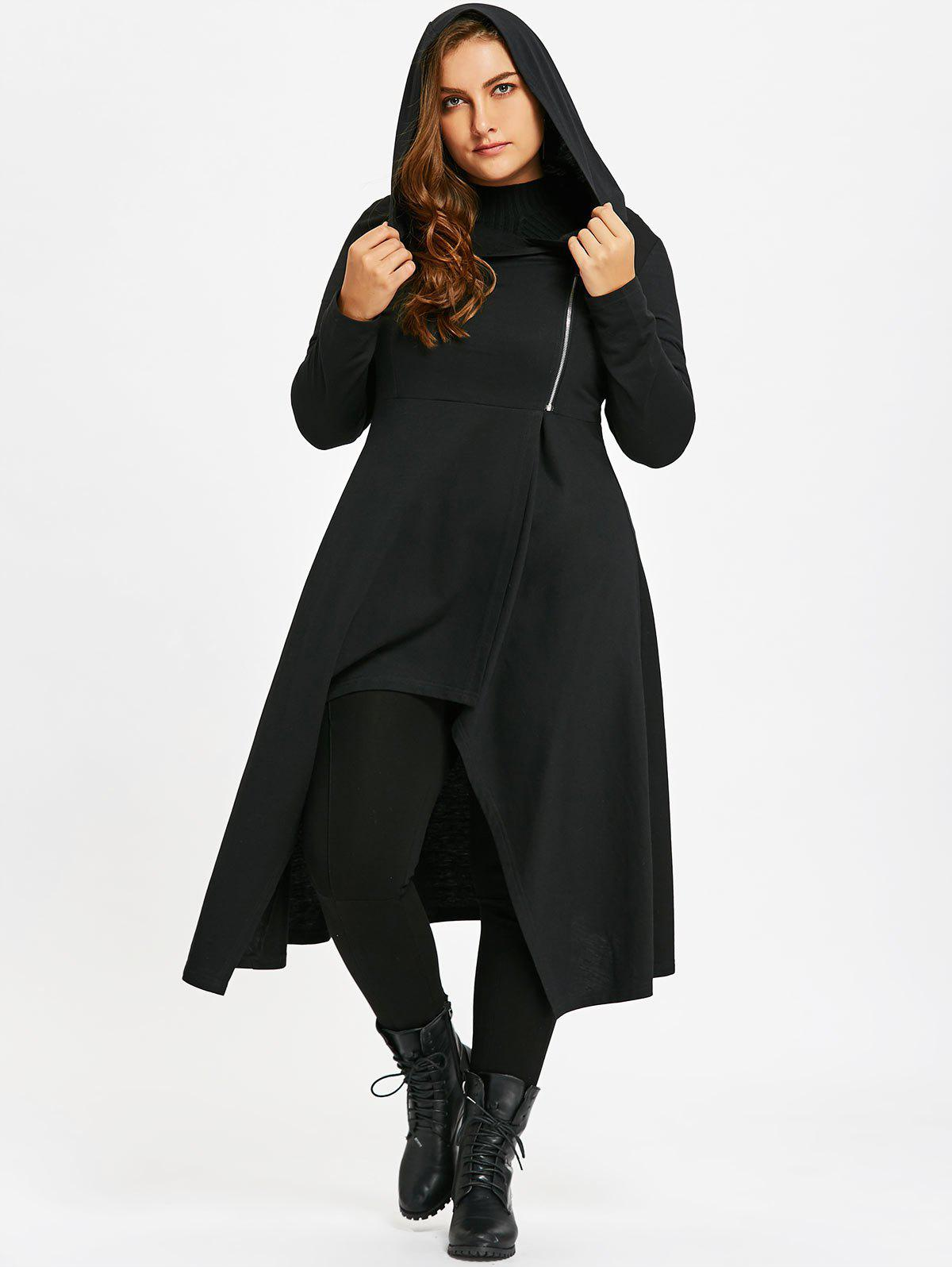2018 Plus Size Zip Up Hooded Lace Up Coat BLACK XL In Plus Size ...