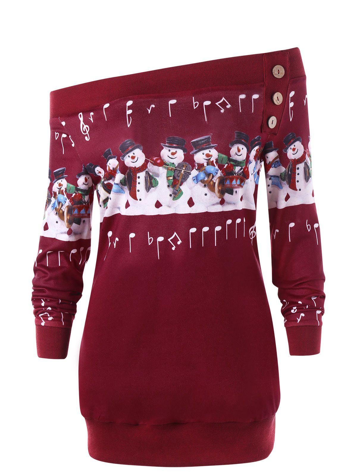 Plus Size Christmas Snowman Off The Shoulder Sweatshirt the snowman