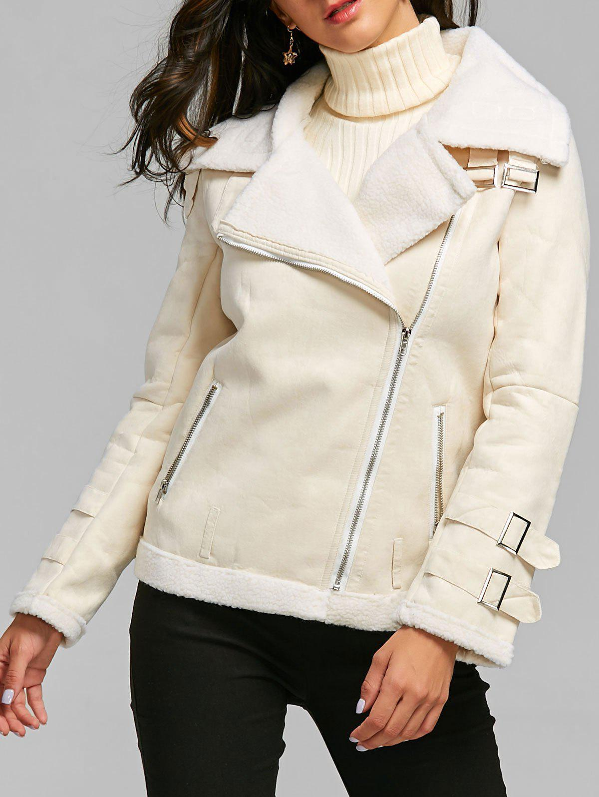Lapel Oblique Zipper Faux Shearling Coat