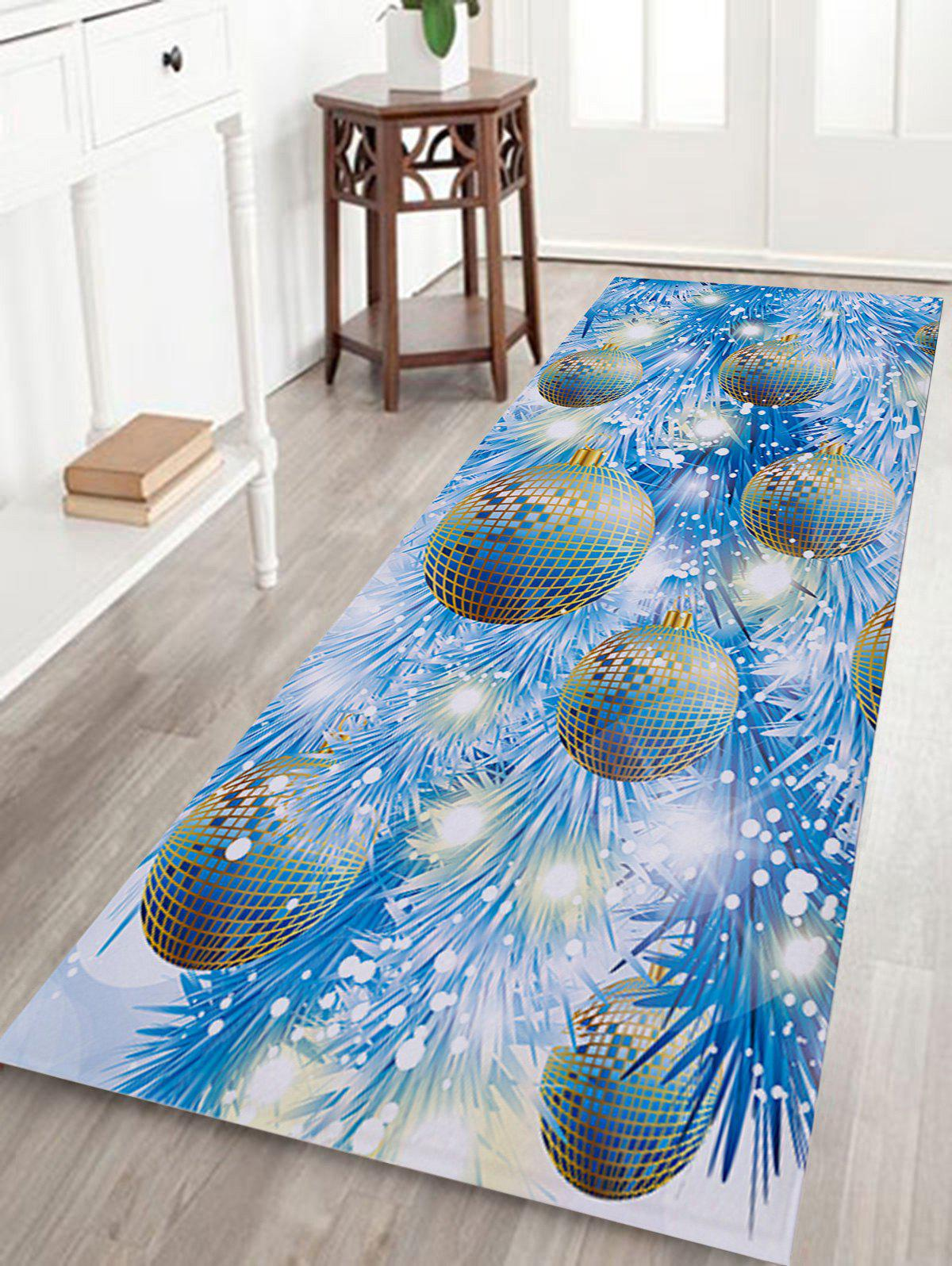 Christmas Baubles Pine Pattern Indoor Outdoor Area Rug - ICE BLUE W24 INCH * L71 INCH