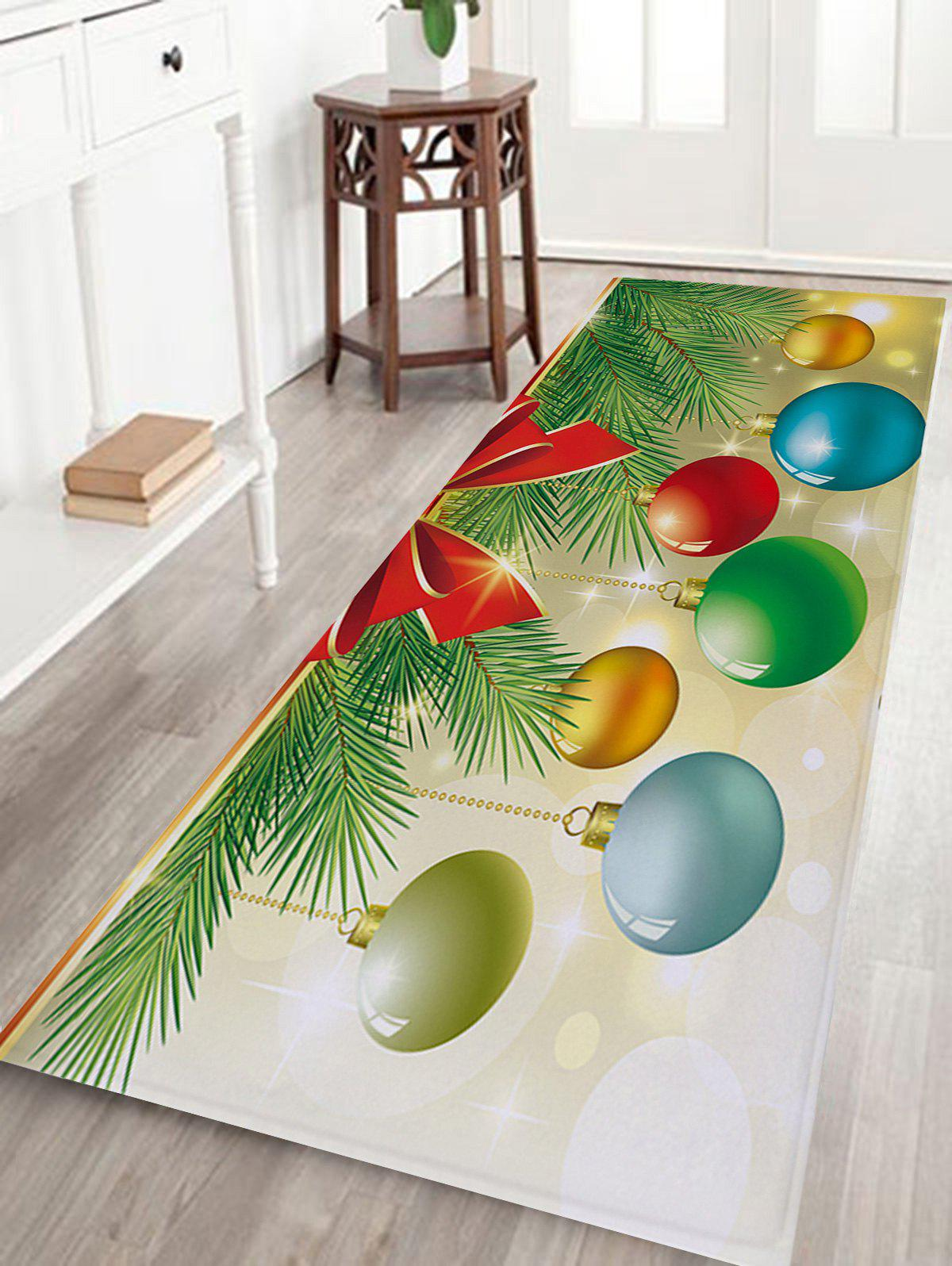 Christmas Baubles Pine Tree Pattern Indoor Outdoor Area Rug - COLORMIX W16 INCH * L47 INCH
