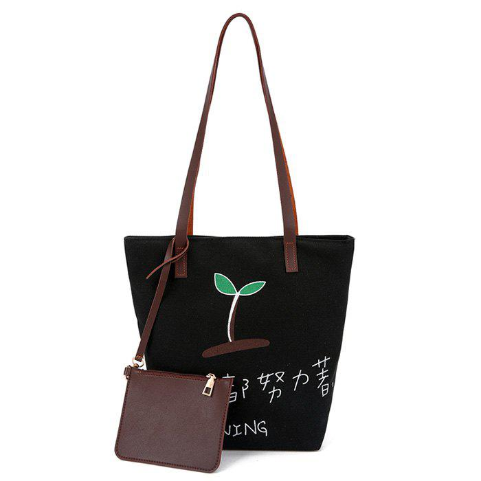 Letter Plant 2 Pieces Shoulder Bag Set - BLACK