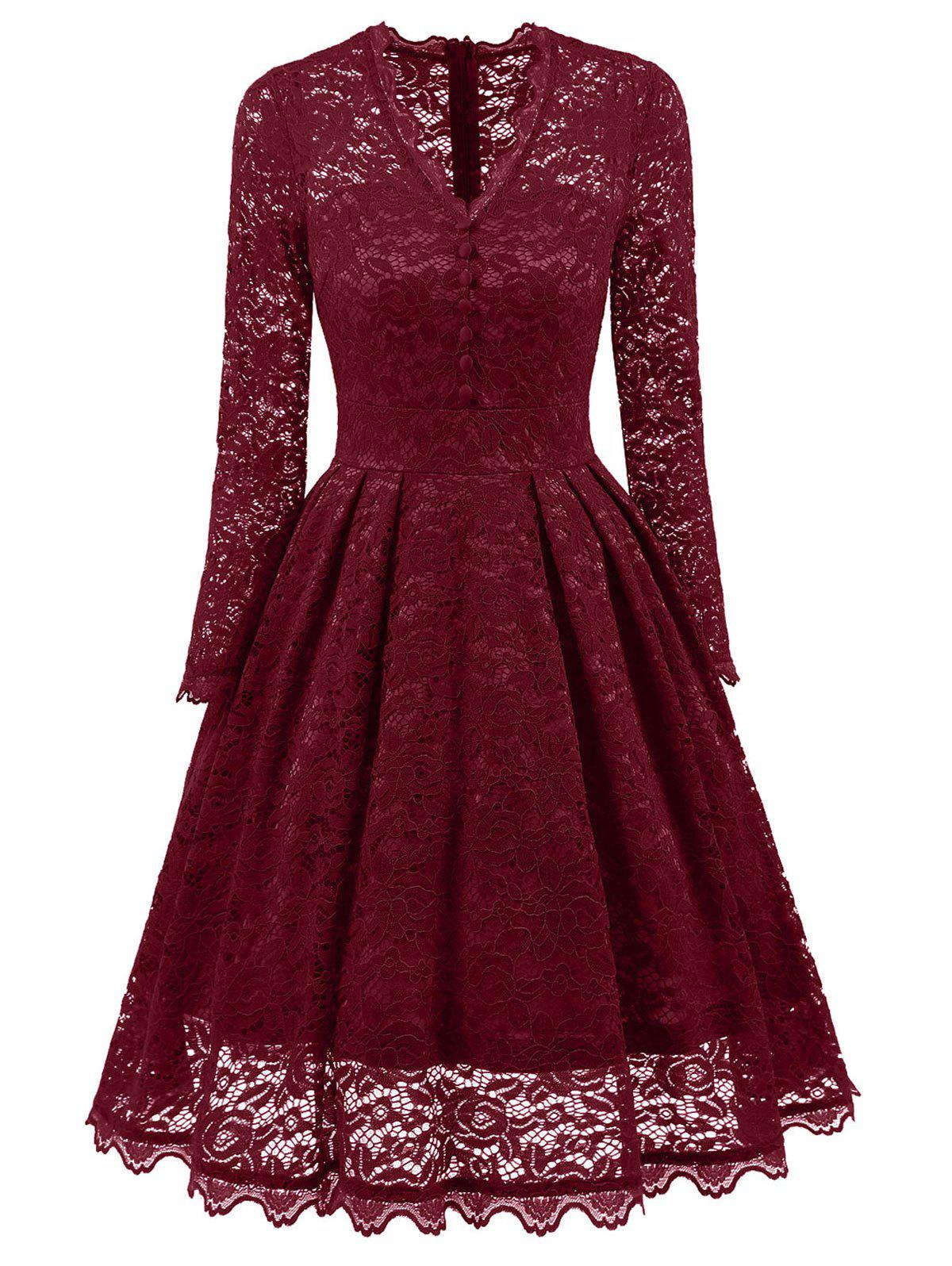 Party Vintage A Line Lace Dress - WINE RED S