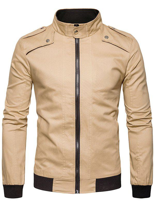цены Stand Collar Epaulet Rib Panel Zip Up Jacket