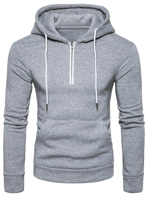 2017 Pouch Pocket Half Zip Fleece Pullover Hoodie LIGHT GRAY XL In ...