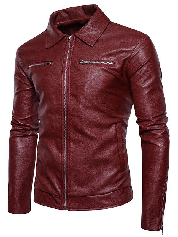 Zip Up PU Leather Jacket - RED 2XL