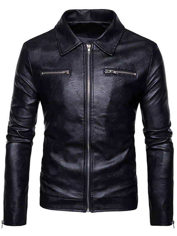 Zip Up PU Leather Jacket pu leather and corduroy spliced zip up down jacket