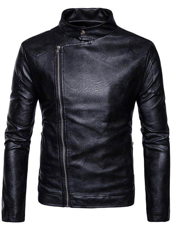 Faux Leather Panel Design Zip Up Jacket - BLACK XL
