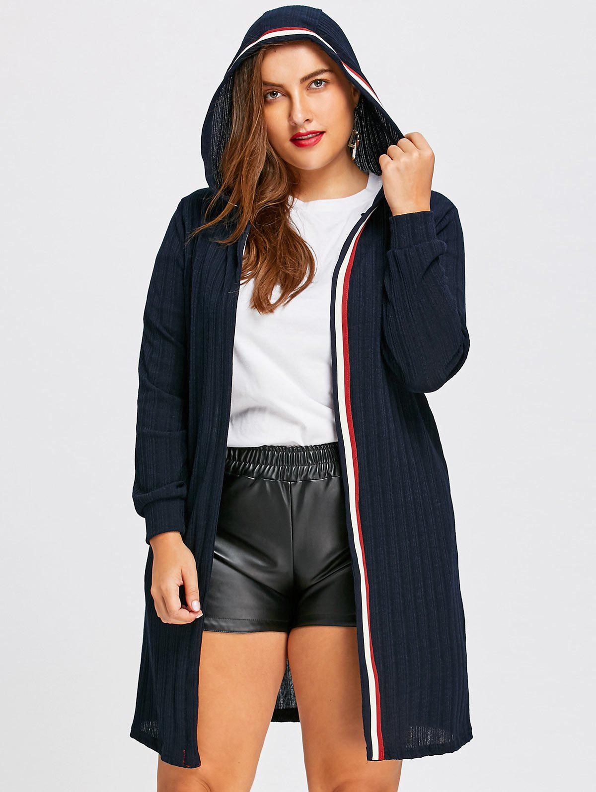 Plus Size  Longline Ribbed Hooded Cardigan - PURPLISH BLUE 5XL