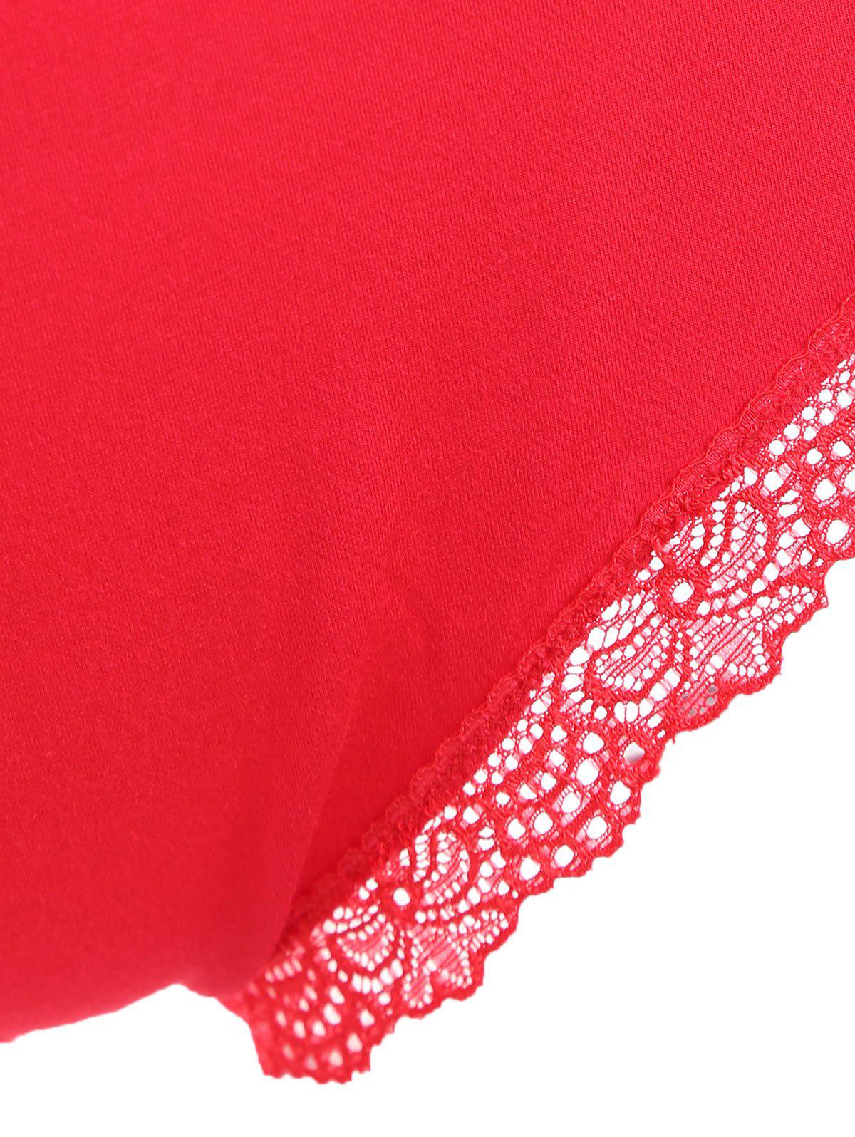 Lace Criss Cross Sheer Slip Teddy - RED S