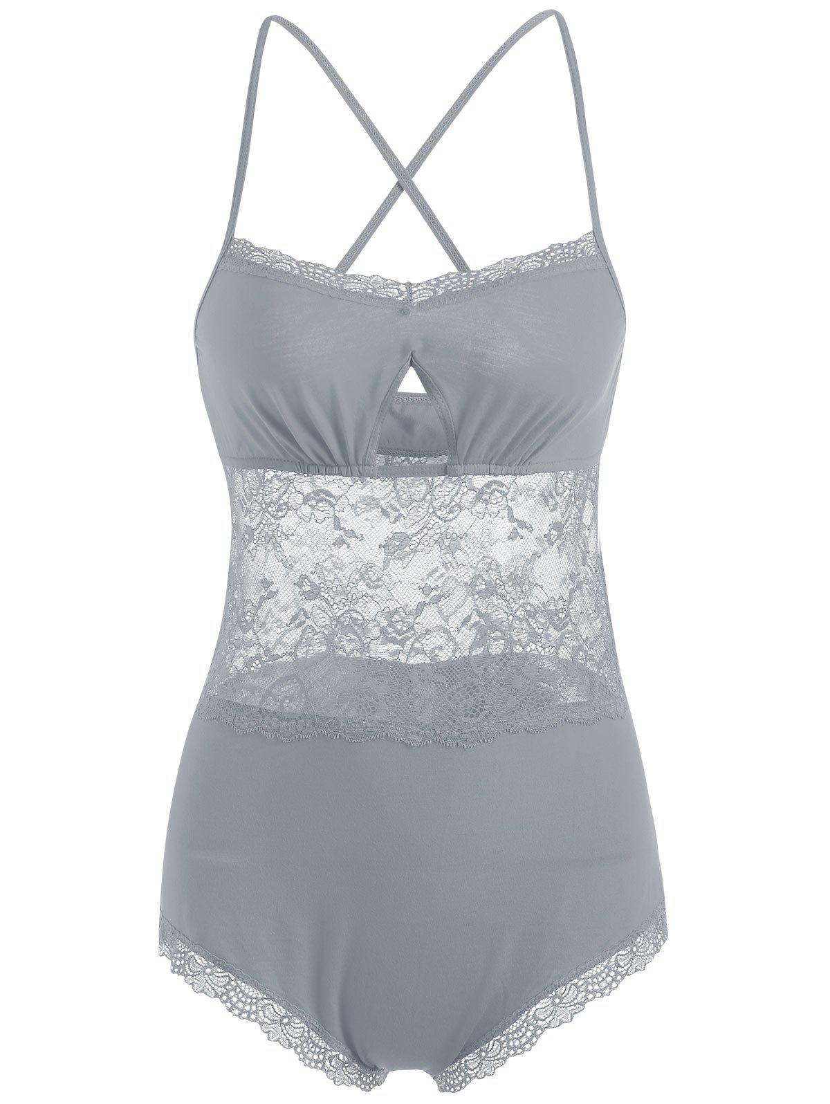 Lace Criss Cross Sheer Slip Teddy - GRAY M