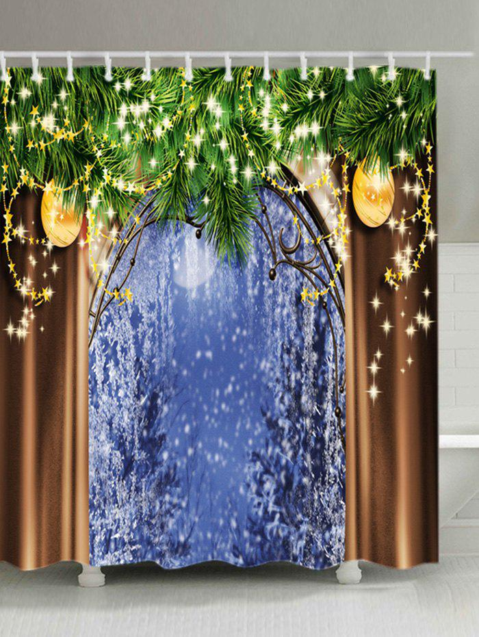 Christmas Tree Window Print Waterproof Fabric Shower Curtain - COLORMIX W71 INCH * L79 INCH