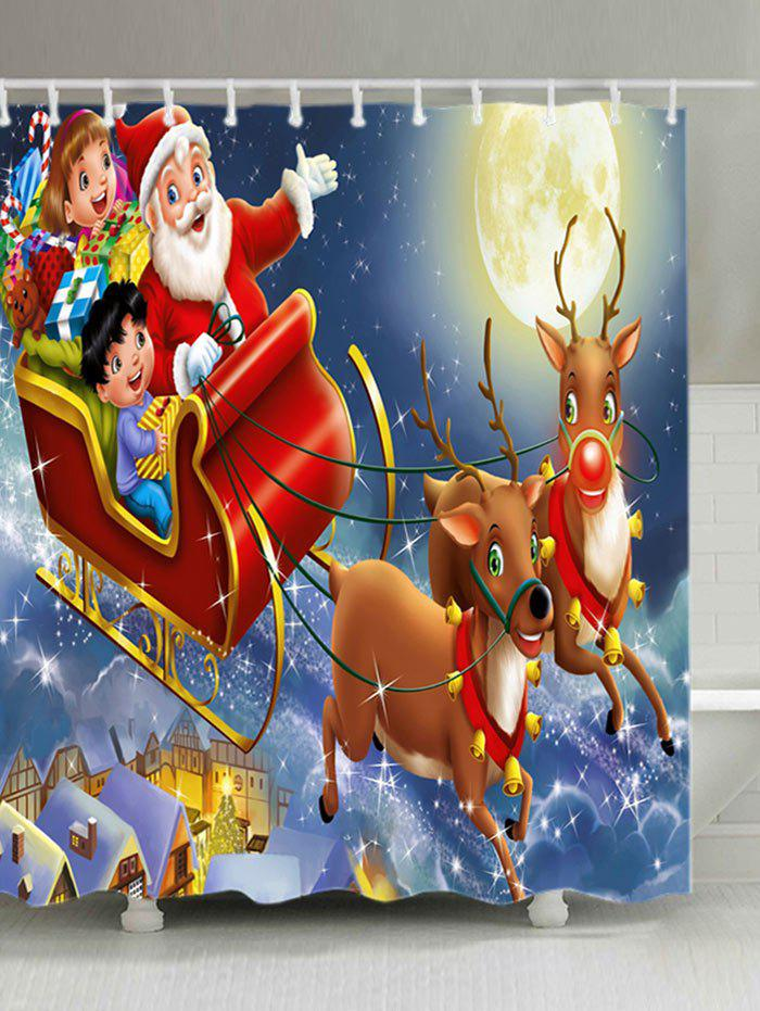 Christmas Moon Santa Sleigh Print Waterproof Fabric Shower Curtain цена и фото