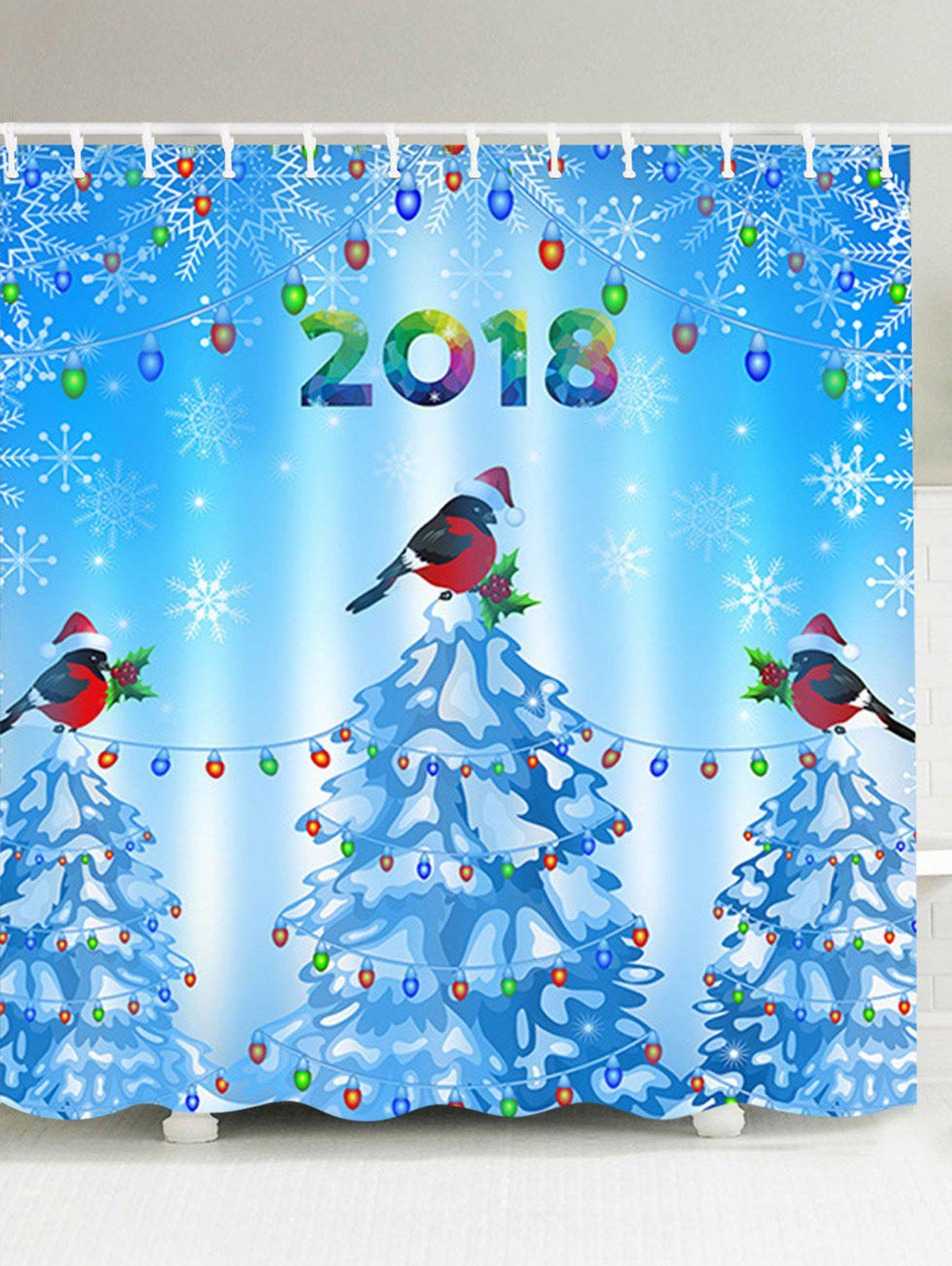 Waterproof Christmas Trees and Birds Pattern Shower Curtain coloring of trees