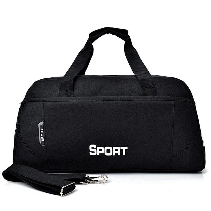 Letter Print Contrasting Color Gym Bag - BLACK