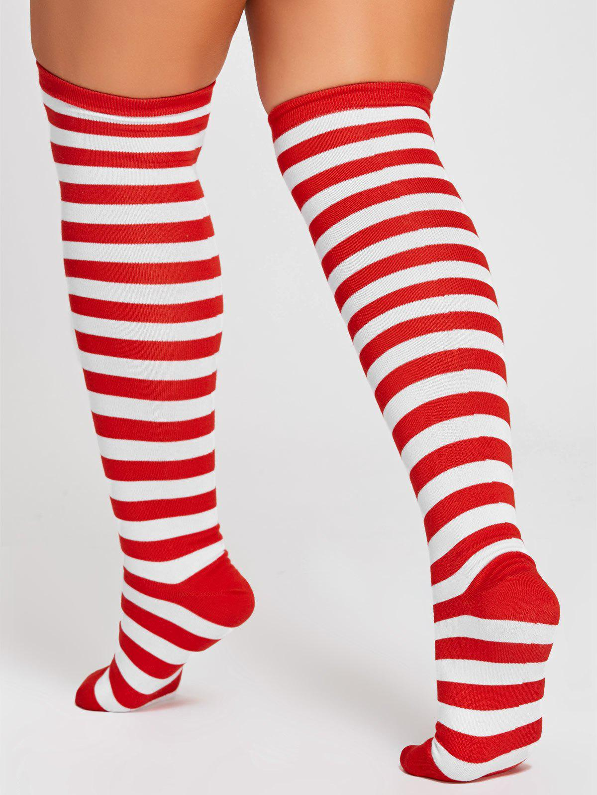 Striped Pattern Color Splice Thigh High Socks - RED ONE SIZE