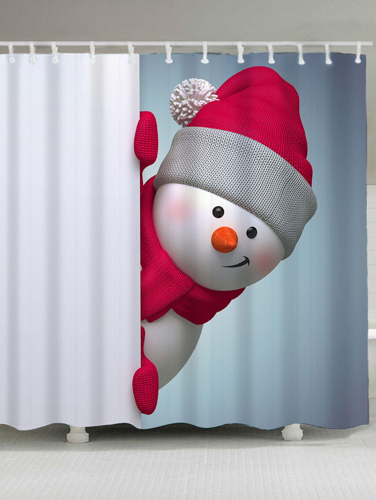 Christmas Snowman Printed Bath Curtain waterproof snowman printed bath christmas shower curtain