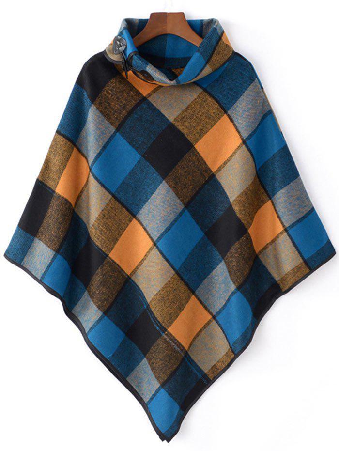 Horn Button Cowl Neck Plaid Cape светильник потолочный odeon light 2557 1c odl13 029 e14 40w 220v kerin бронза