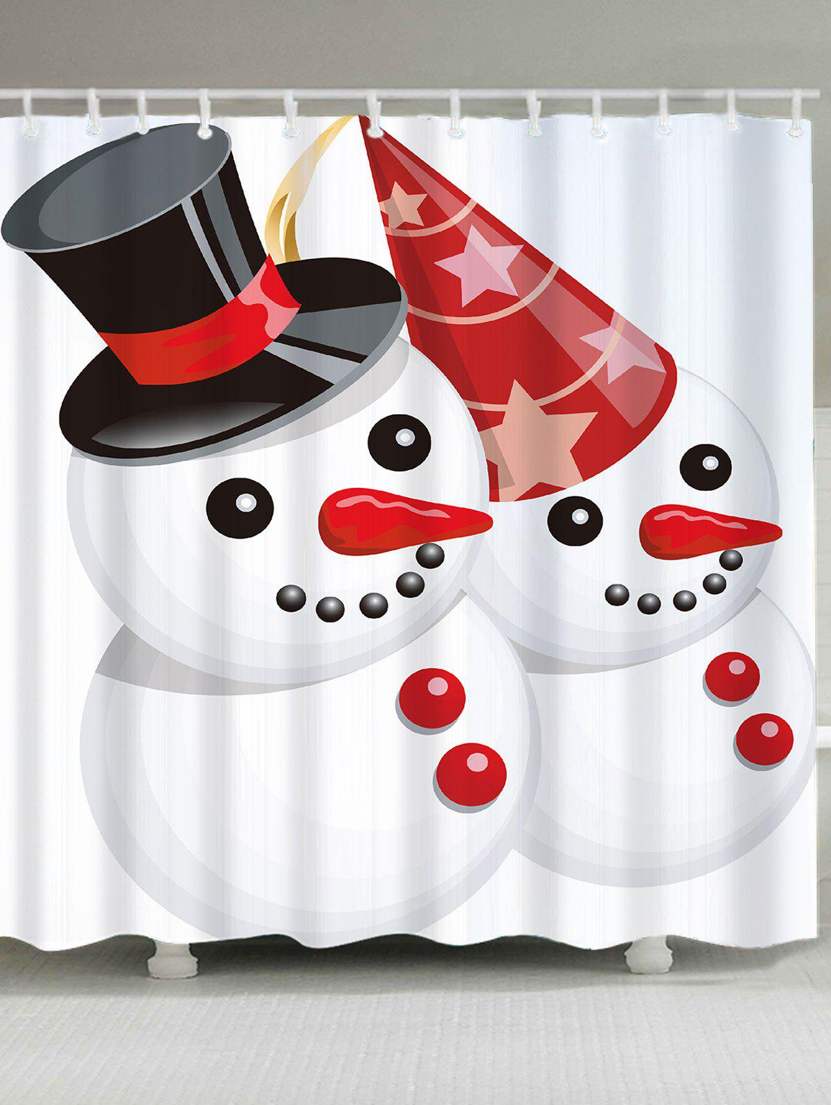 Christmas Snowmen Couple Patterned Bath Curtain - WHITE/RED W71 INCH * L71 INCH