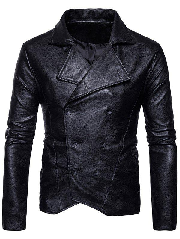Turndown Collar Double Breasted PU Leather Jacket - BLACK S