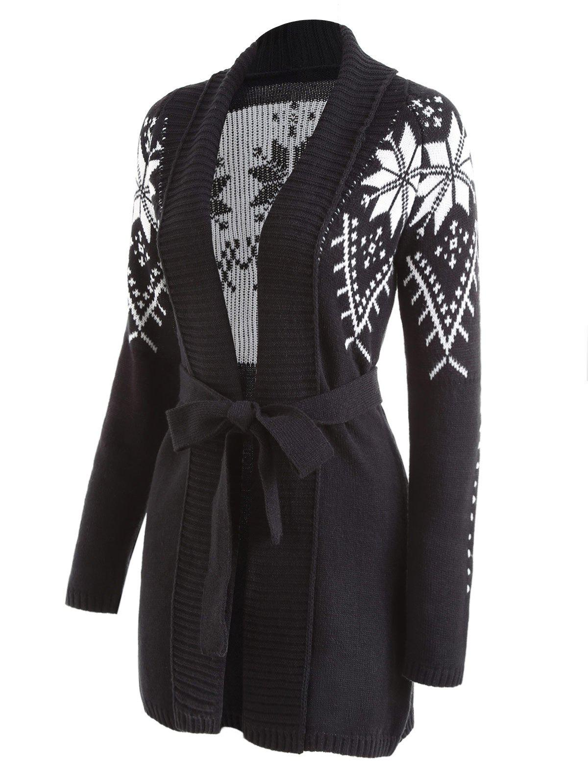 2018 Shawl Collar Snowflake Jacquard Wrap Cardigan BLACK S In ...
