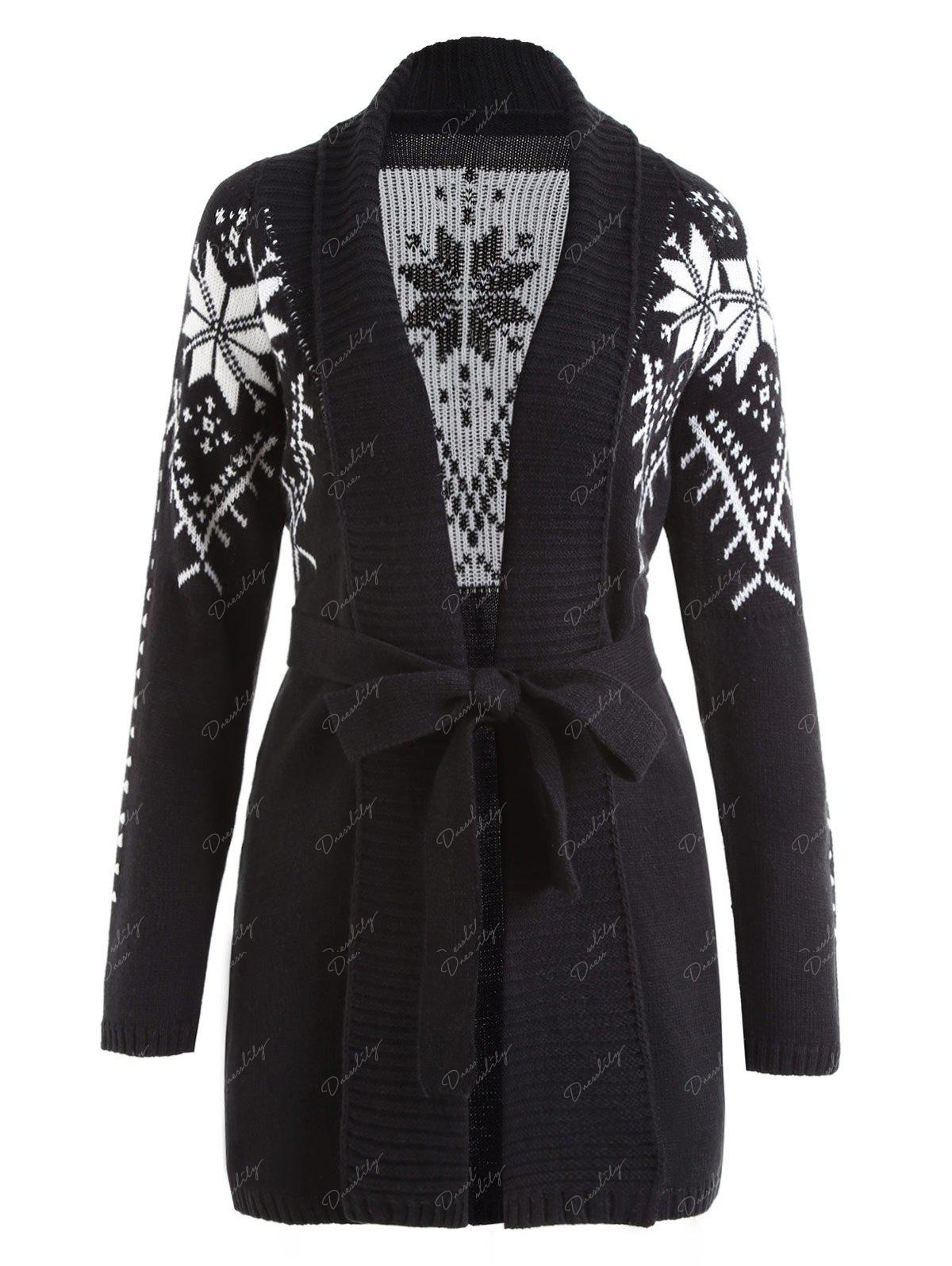 2018 Shawl Collar Snowflake Jacquard Wrap Cardigan BLACK M In ...