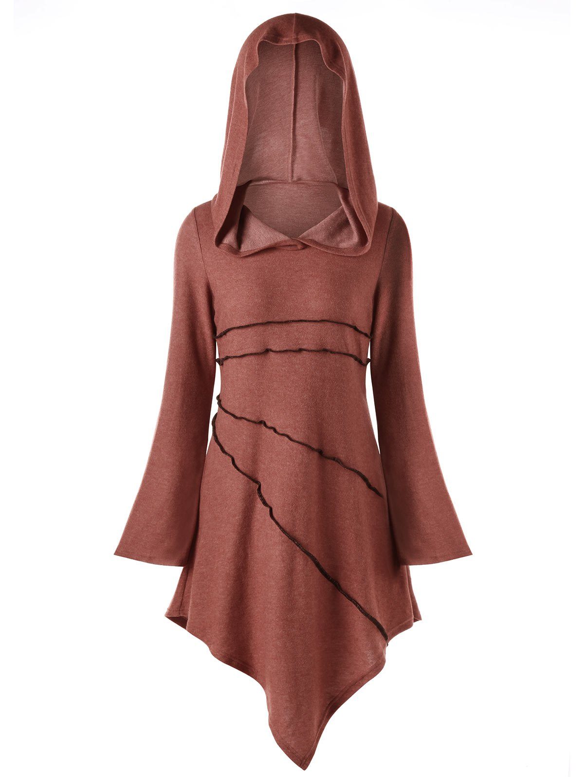 Flare Sleeve Exposed Seam Hoodie Dress, Brick-red