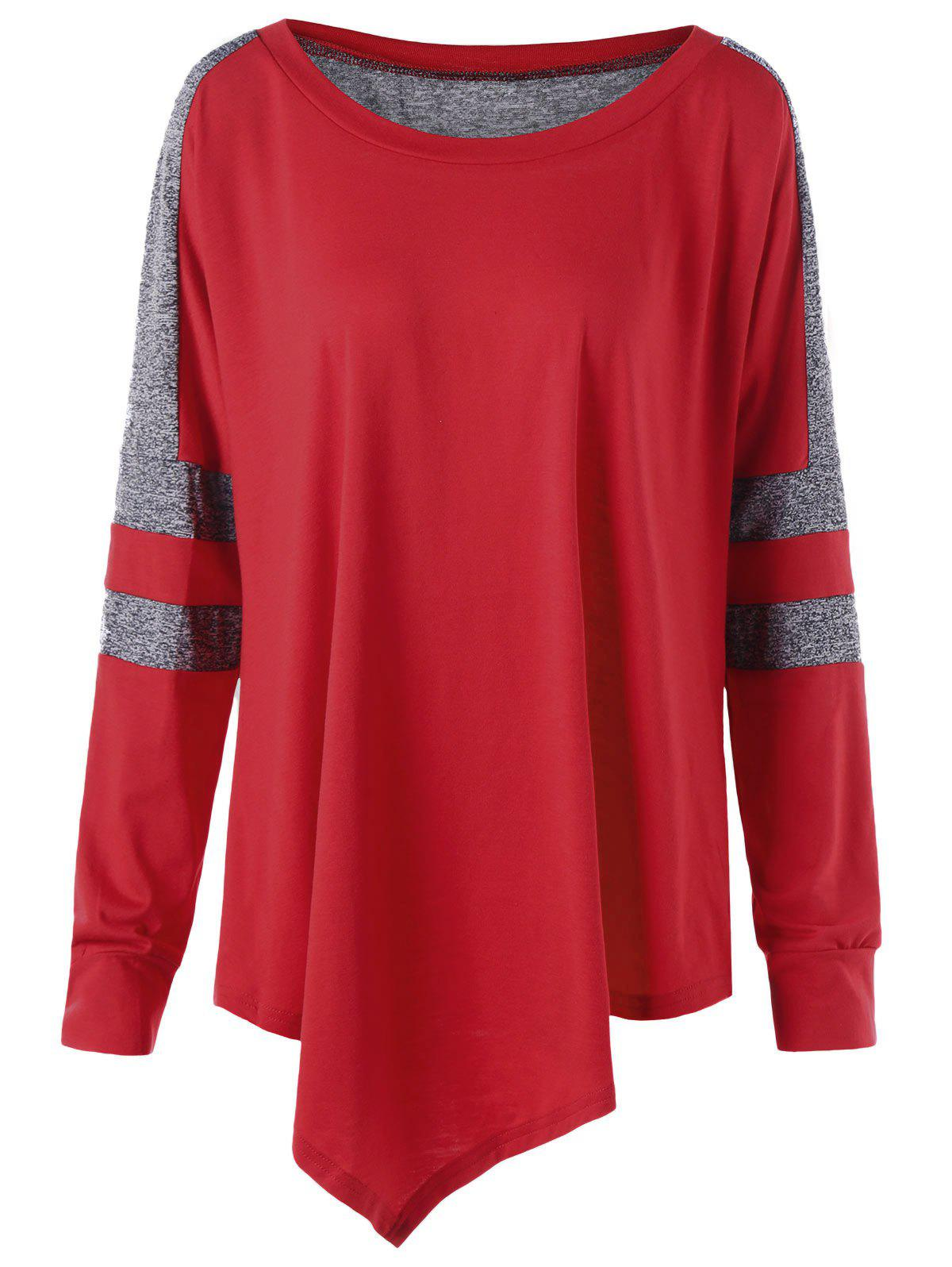 Plus Size Asymmetric Long Sleeve Pullover Sweatshirt - RED 4XL