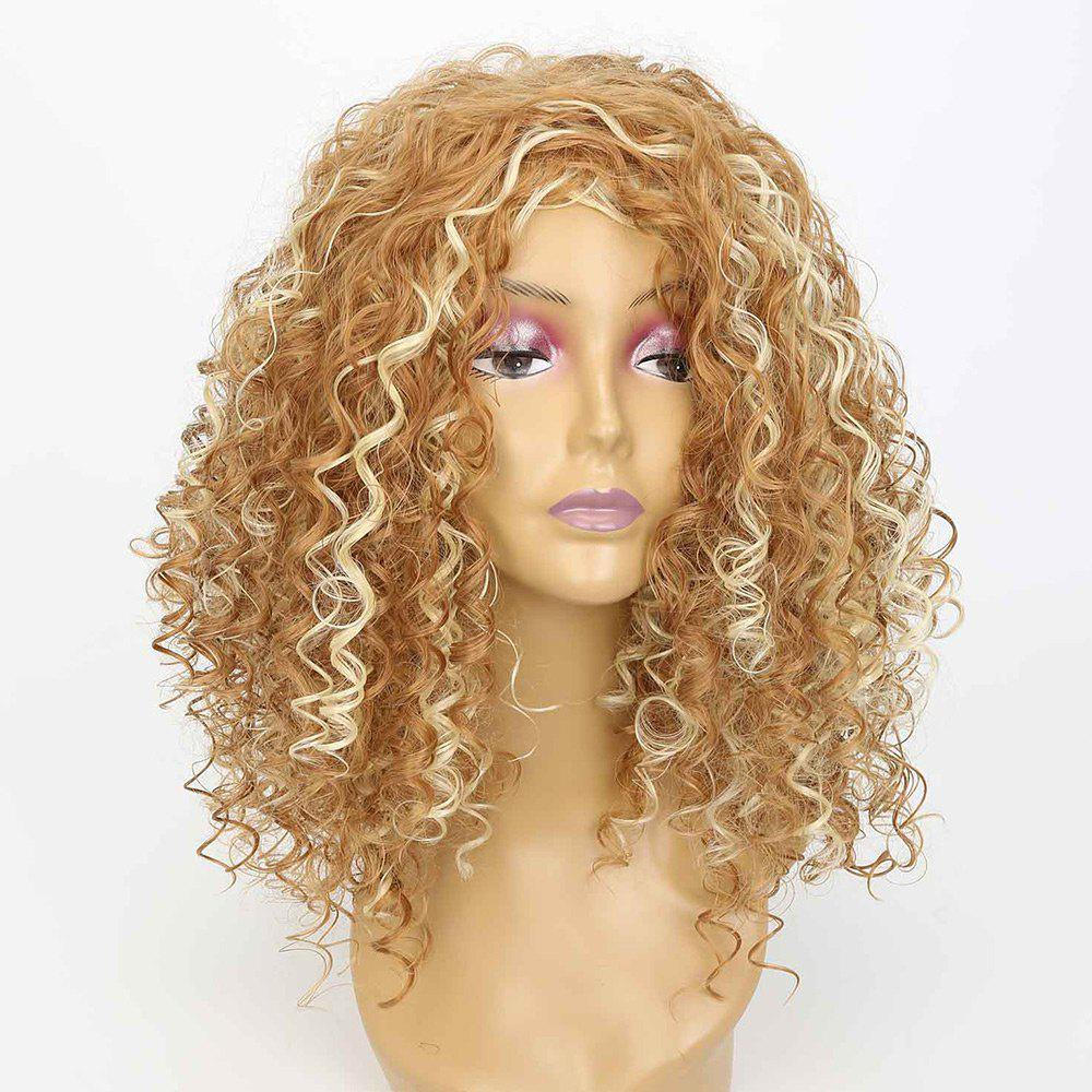 Medium Side Bang Fluffy Curly Highlight Synthetic Wig non mainstream mix color medium curly neat bang fluffy women s synthetic wig