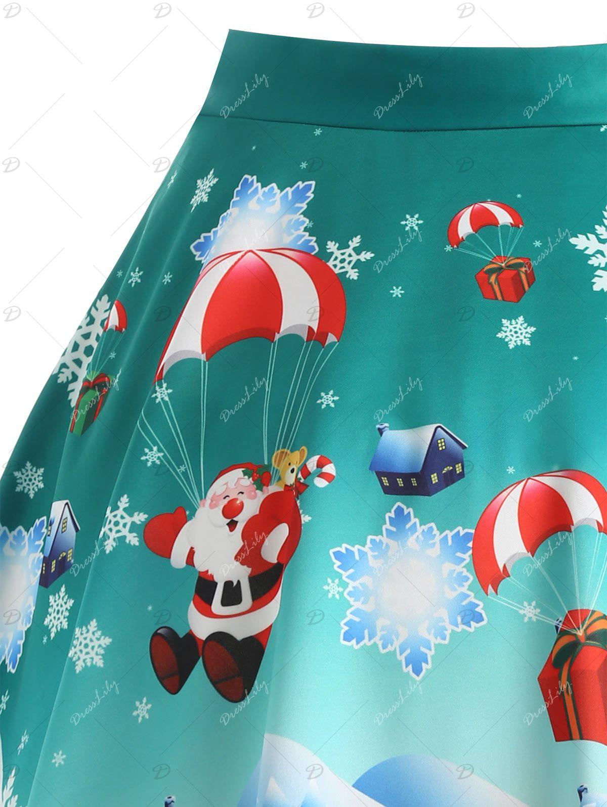 Christmas Santa Claus Gift Print Plus Size Skirt - GREEN 5XL