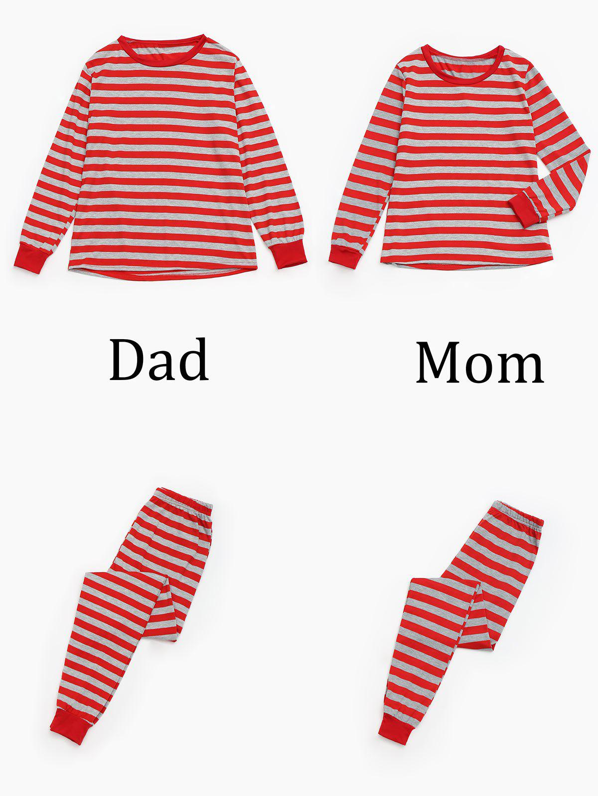 XMAS Striped Matching Family Christmas Pajama Set - RED MOM L