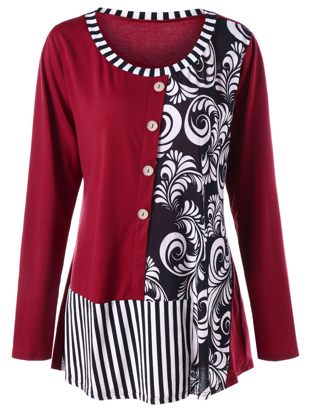 Plus Size Striped Bandana Floral Top - WINE RED XL