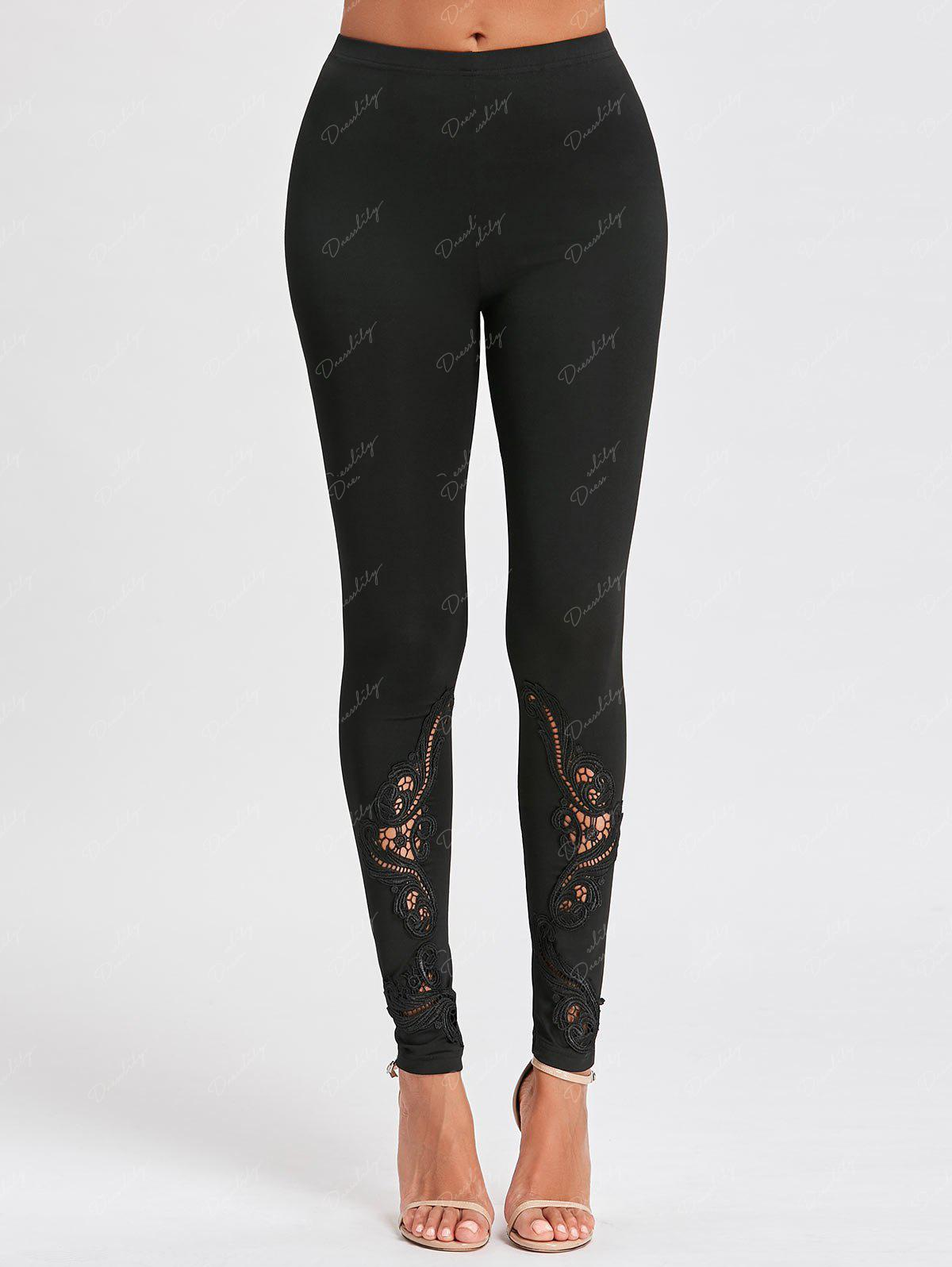 Tight Hollow Out Lace Panel Leggings - BLACK M