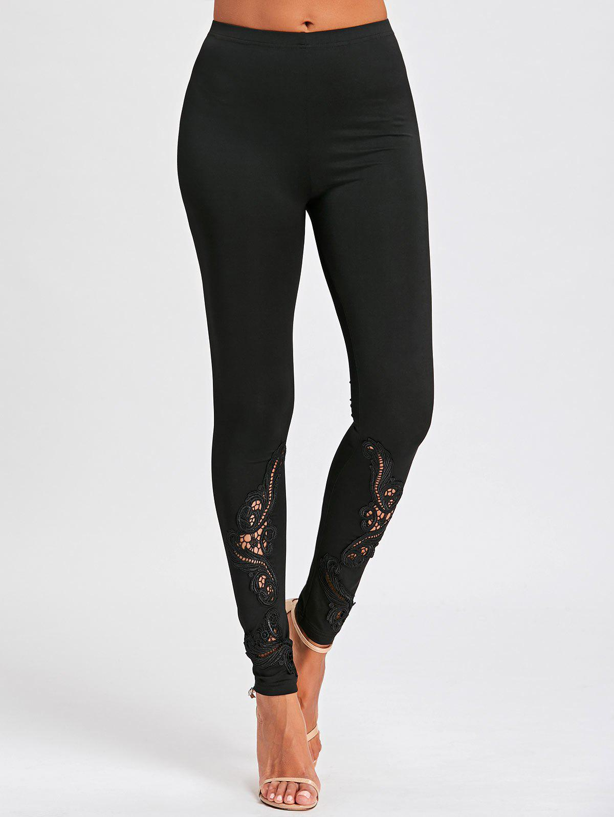 Tight Hollow Out Lace Panel Leggings брюки accelerate tight